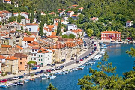 novigrad dalmatinski aerial waterfront view