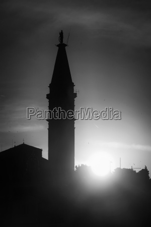saint euphemia bell tower bw
