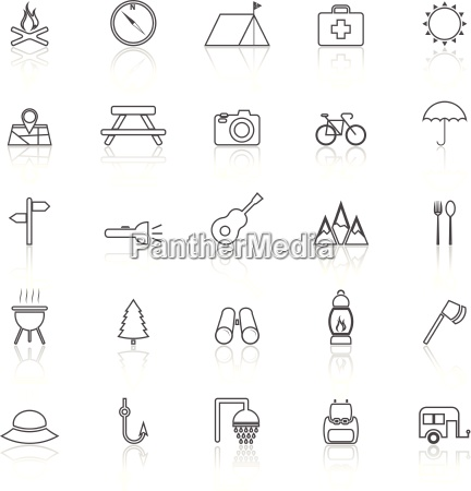 camping line icons with reflect on