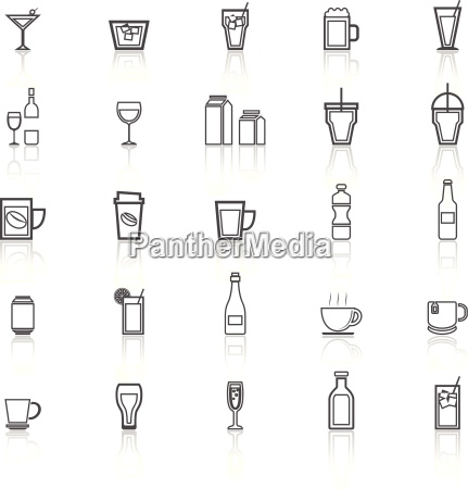 drink line icons with reflect on
