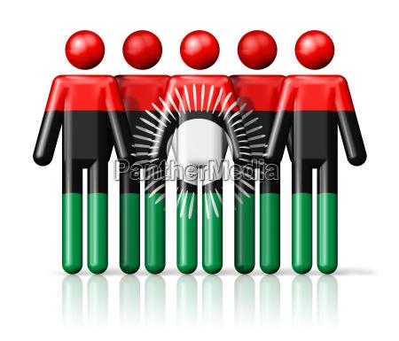 flag of malawi on stick figure