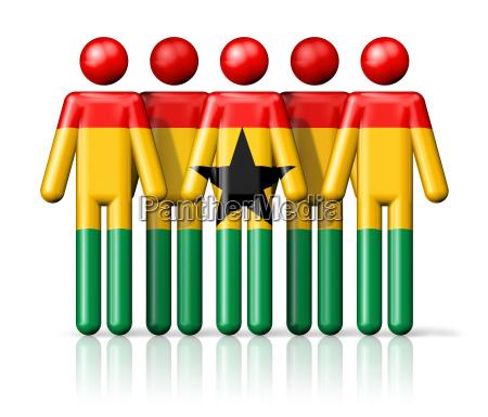 flag of ghana on stick figure