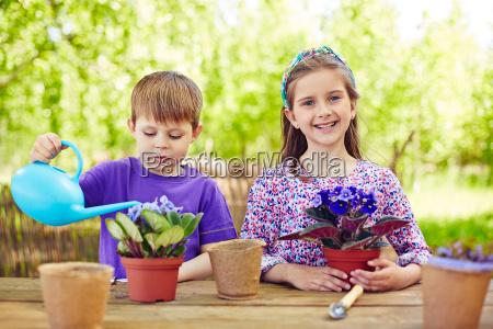 cute friends gardening