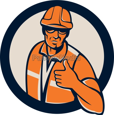 construction worker thumbs up circle retro