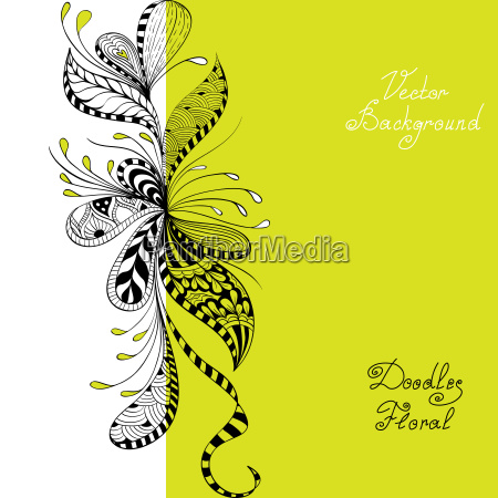 vector black green and white floral