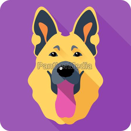 dog german shepherd icon flat design