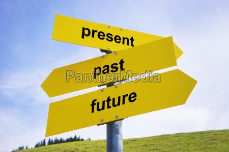 present past future arrow signs