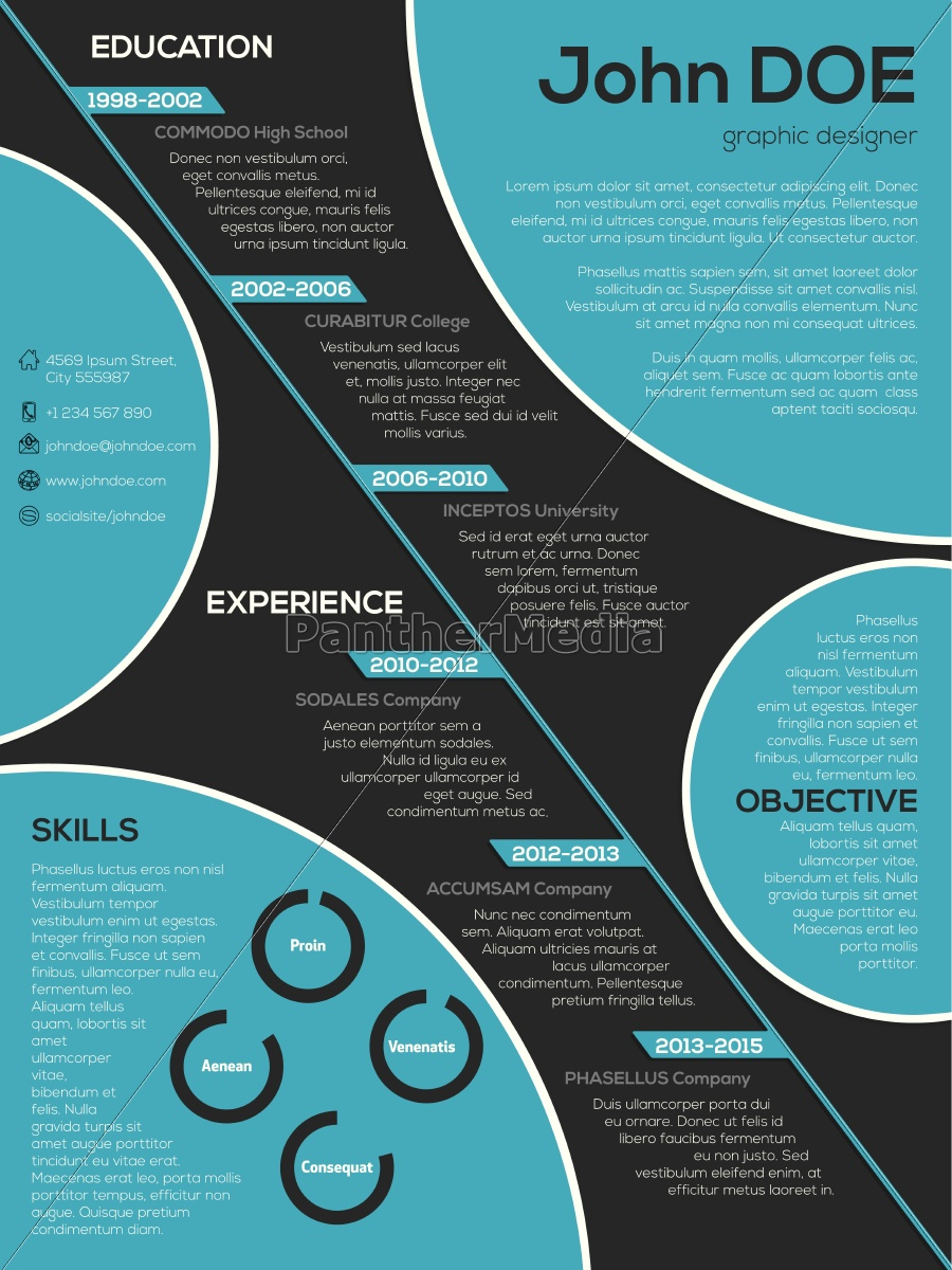 Royalty Free Vector 14356359 Modern Resume Curriculum Vitae With Cool Circle Elements