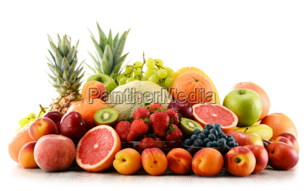 composition with assorted fruits isolated on