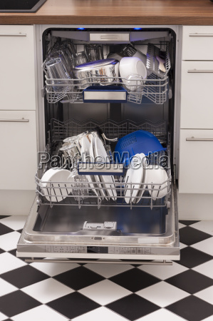 dish washer with clean dishes and