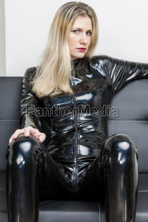 portrait of woman wearing black extravagant