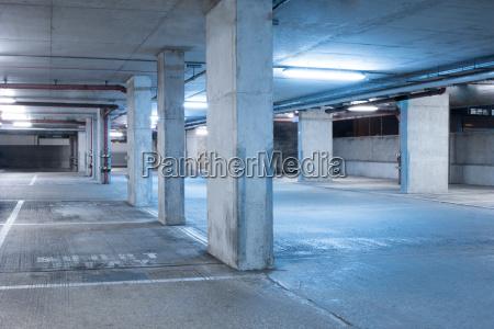 dark parking garage industrial room interior
