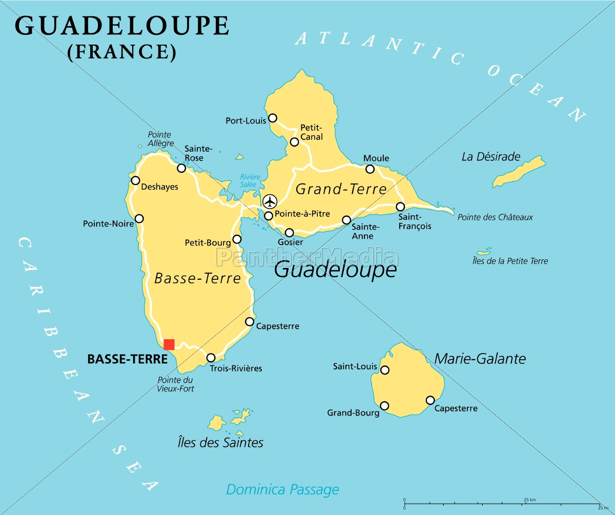 Guadeloupe Karte.Royalty Free Vector 14364487 Guadeloupe Political Map