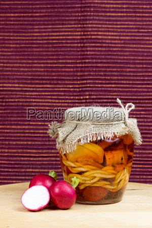 jar of pickled of cheese with