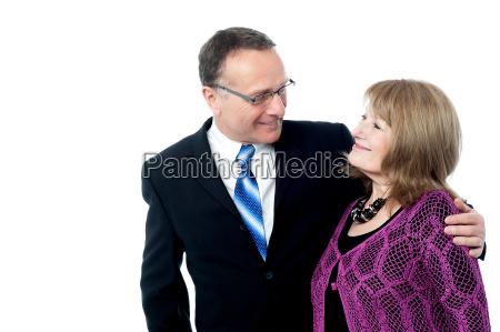 adorable senior couple posing