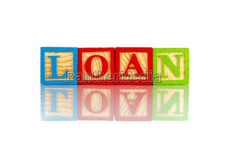 loan reflection on white background