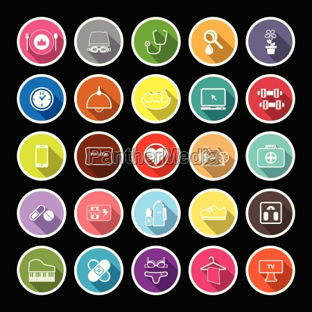 quality life line flat icons with