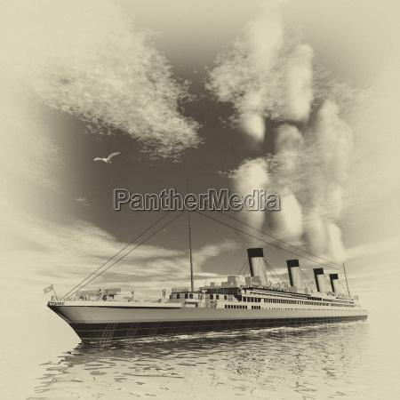 titanic ship 3d render