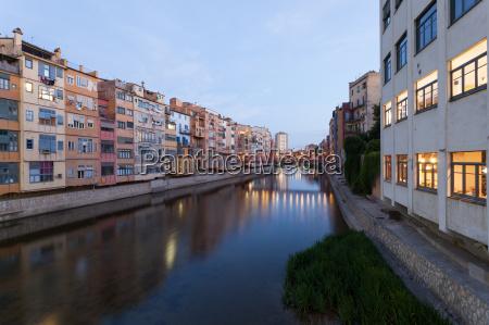 town of girona at dusk spain
