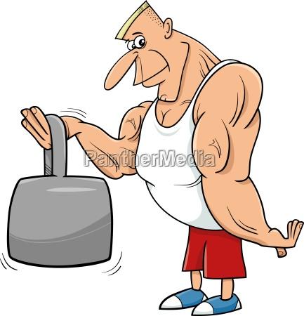 strong man athlete cartoon illustration