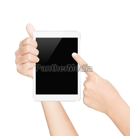 hand hold white tablet screen isolated