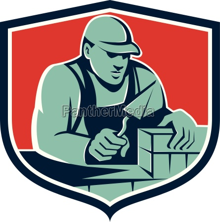 tiler plasterer mason worker brick shield