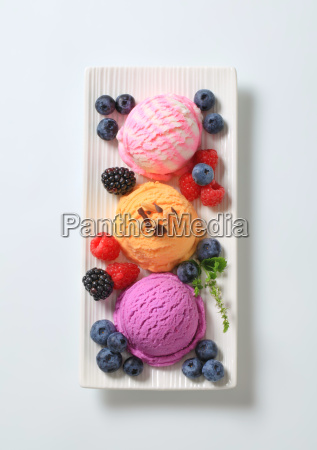 assorted ice cream with fresh berry
