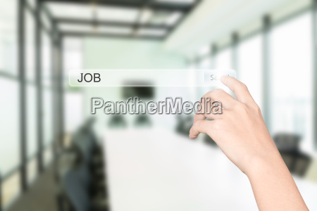 hand click find job interface office