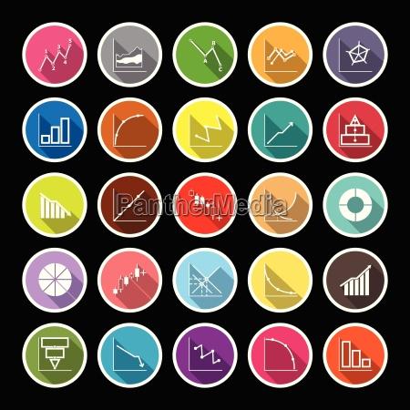 economic diagram line flat icons with