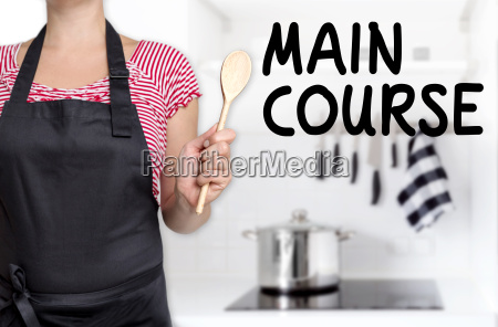 main course cook holding spoon background