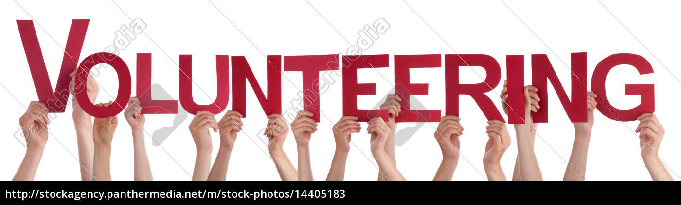 hands, holding, red, straight, word, volunteering - 14405183