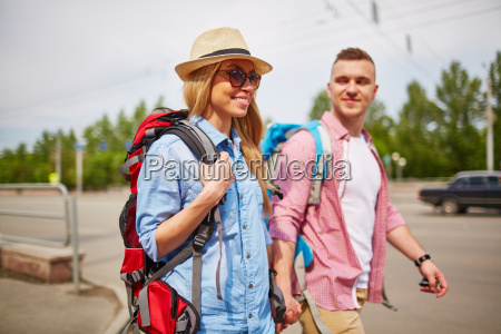 pretty tourist with boyfriend