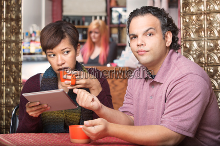 hispanic woman ignoring boyfriend