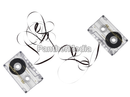 two obsolete music tapes broken isolated