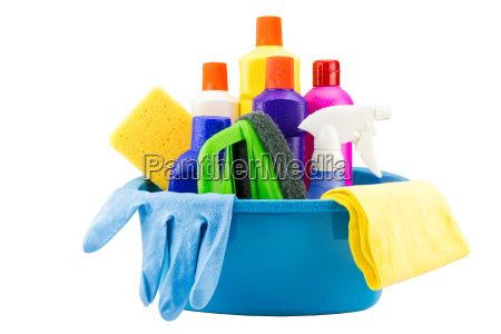 cleaning tools in bucket on white
