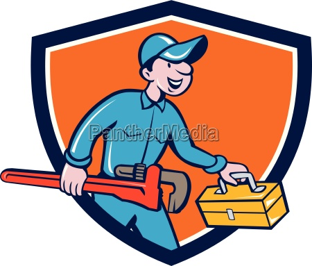 plumber carrying monkey wrench toolbox shield