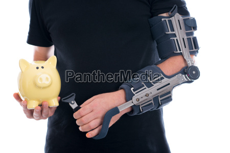 man with broken arm showing piggy
