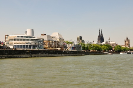 overlooking the rhine river promenade in