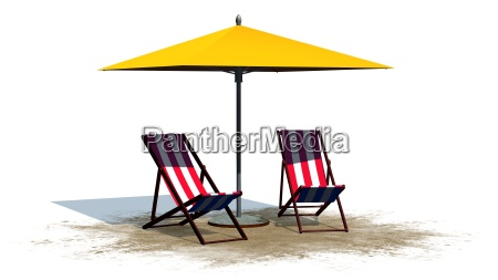 deckchairs and umbrella separated on