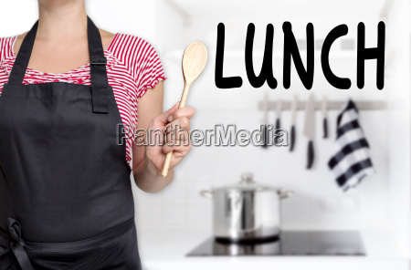 lunch cook holds spoon background