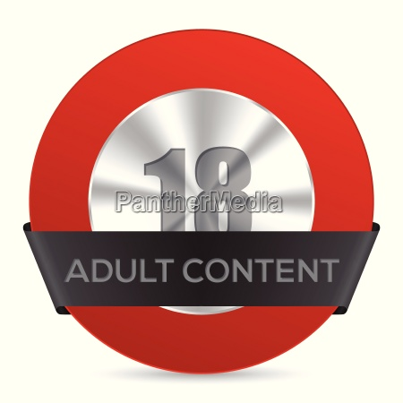 adult content badge with black ribbon
