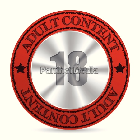 red adult content badge with metallic