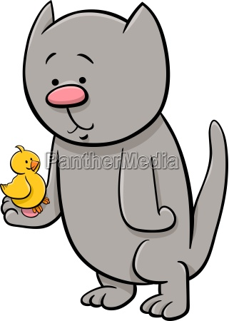 cat with canary cartoon illustration