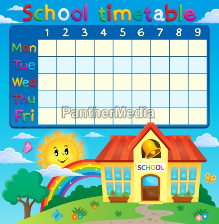 school timetable with school building