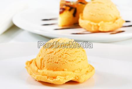 ice cream and piece of sponge