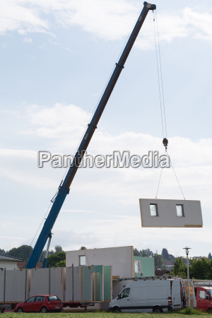 prefabricated house is built
