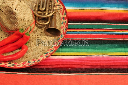 mexico sombrero poncho chili fiesta background