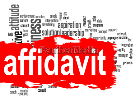 affidavit word cloud with red banner