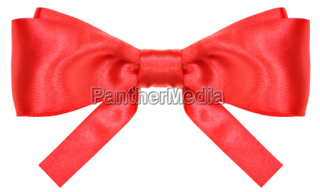 symmetric red silk ribbon bow with
