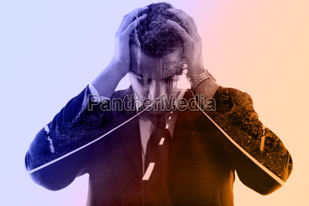 double exposure of depressed business man